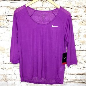 Nike Dri Fit Purple Breeze Running Yoga Top Shirt